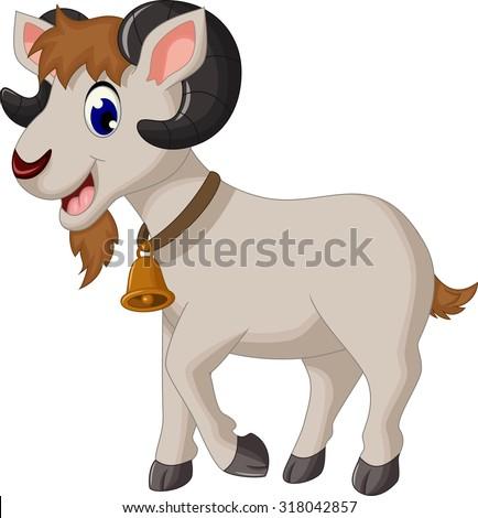 cartoon goat smiling - stock vector
