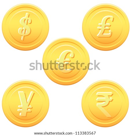 Cartoon gold coins - stock vector