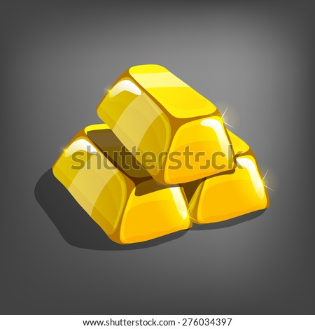 Cartoon golden bars. Vector illustration.  - stock vector