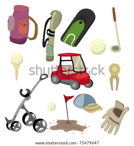 cartoon golf icon - stock vector