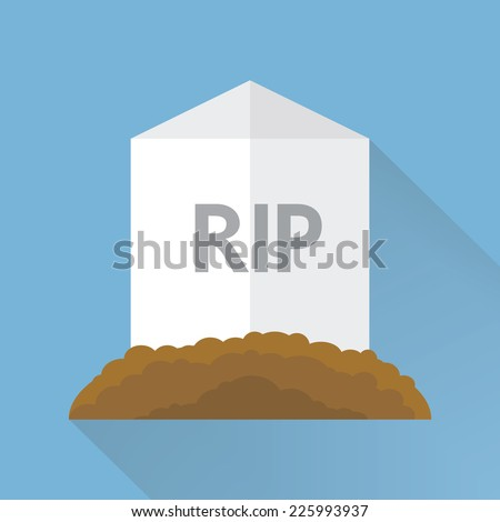 Cartoon grave flat design. Vector illustration, long shadow, halloween. - stock vector