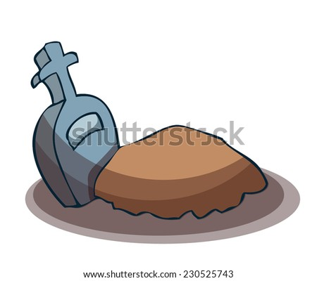 Cartoon Grave with Tombstone, Vector Illustration isolated on White Background.  - stock vector