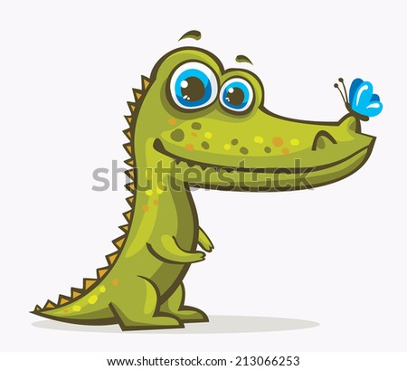 Cartoon green crocodile with blue eyes and butterfly. - stock vector
