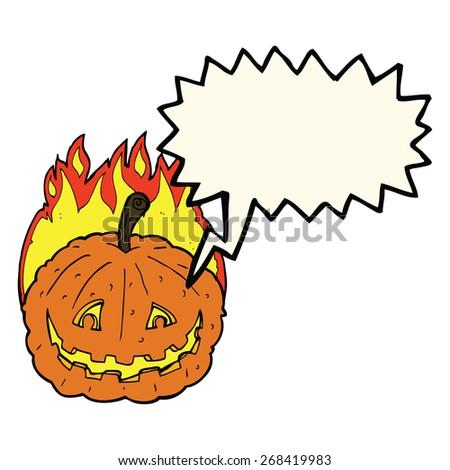 cartoon grinning pumpkin with speech bubble - stock vector