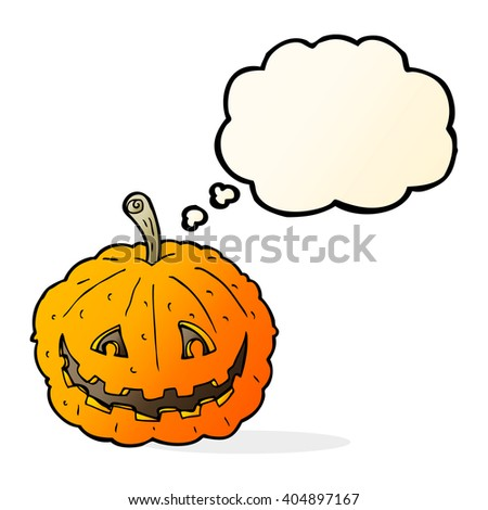 cartoon grinning pumpkin with thought bubble - stock vector