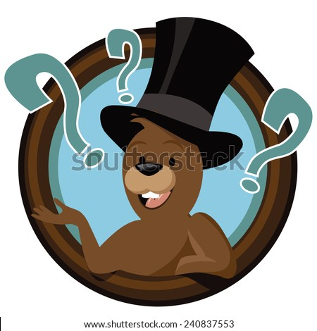 Cartoon groundhog mascot in circle EPS 10 vector stock illustration - stock vector