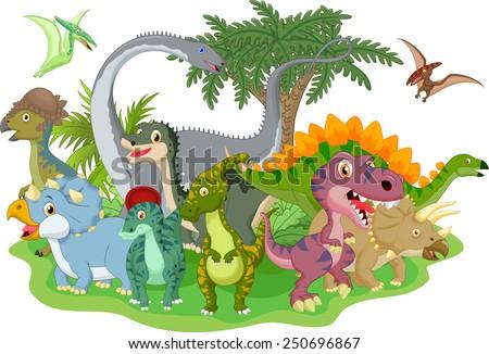 Cartoon group of dinosaur  - stock vector