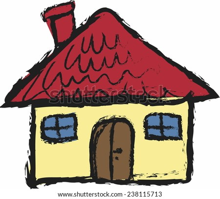 cartoon grunge house isolated on white , vector icon illustration - stock vector