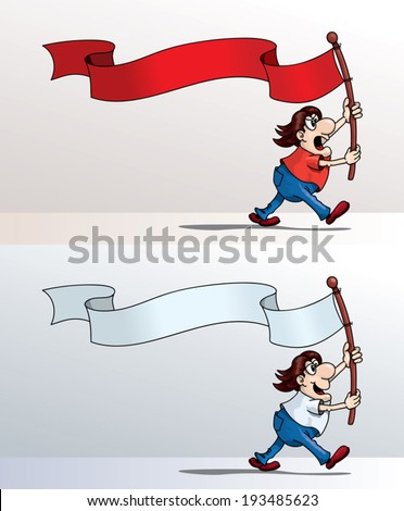 Cartoon guy holding a flag and walking, vector illustration - stock vector