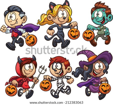 Cartoon Halloween kids. Vector clip art illustration with simple gradients. Each on a separate layer. - stock vector