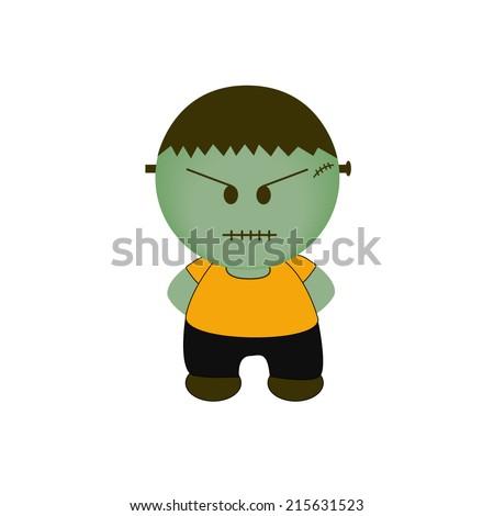 Cartoon Halloween Monster. bad mood - stock vector