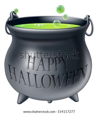 Cartoon Halloween witch's cauldron with green bubbling witch's brew in it and a message reading Happy Halloween - stock vector