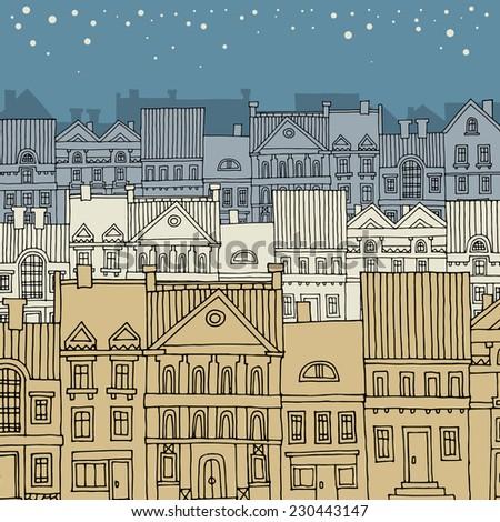 Cartoon hand drawing city - stock vector