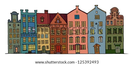 Cartoon hand drawing color houses - stock vector
