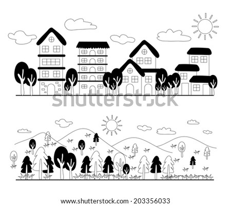 Cartoon hand drawing house and mountain - stock vector