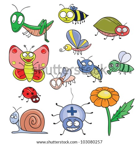 Cartoon hand-drawn cute insects set. Vector illustration. - stock vector