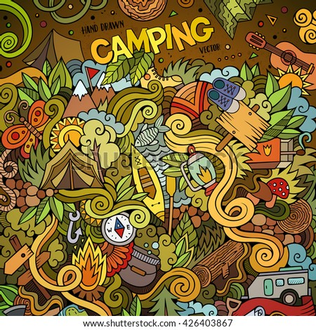 Cartoon hand-drawn doodles camping illustration. Colorful detailed, with lots of objects vector design background - stock vector