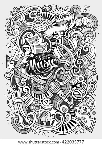 Cartoon hand-drawn doodles Musical illustration. Line art detailed, with lots of objects vector background - stock vector