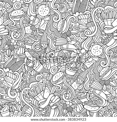 Cartoon hand-drawn doodles on the subject of food, fast food theme seamless pattern. Line art sketchy detailed, with lots of objects vector background - stock vector