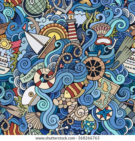 Cartoon hand-drawn doodles on the subject of marine style theme seamless pattern. Colorful vector background - stock vector