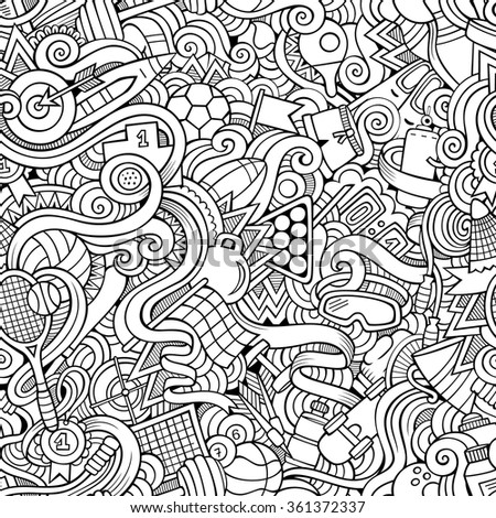 Cartoon hand-drawn doodles on the subject of sports style theme seamless pattern. Vector line art background - stock vector