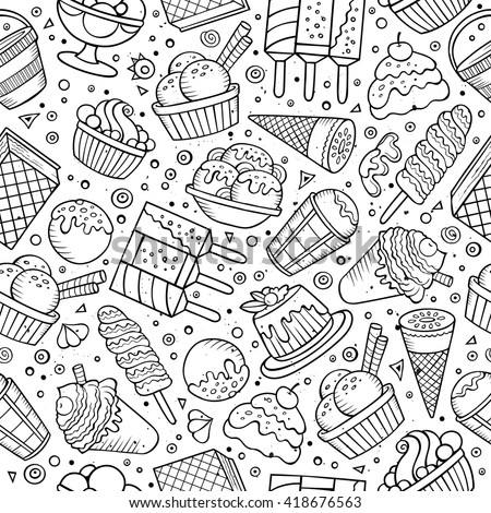 Cartoon hand-drawn ice cream doodles seamless pattern. Sketchy detailed, with lots of objects vector background - stock vector
