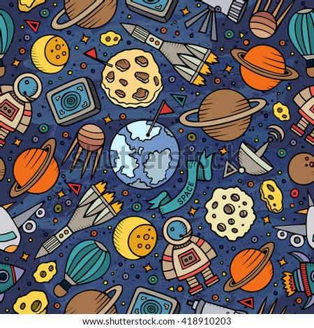 Cartoon hand-drawn space, planets seamless pattern. Lots of symbols, objects and elements. Perfect funny vector background. - stock vector