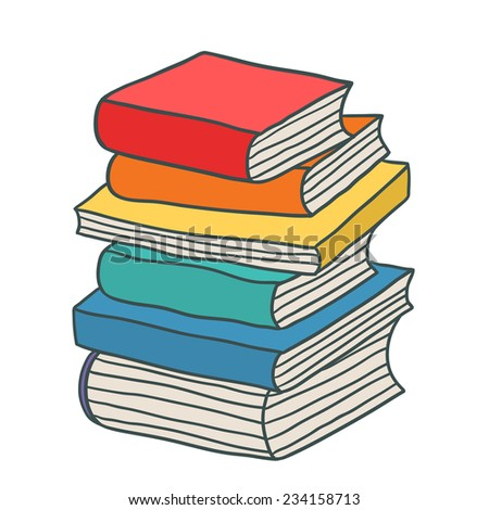 cartoon hand drawn stack of books - stock vector