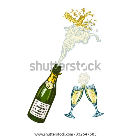 bottle of champagne with foam and glasses of champagne - stock vector ...