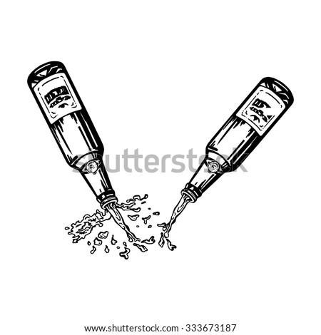 cartoon, hand drawn, vector, sketch, illustration of Beer pouring from bottle - stock vector