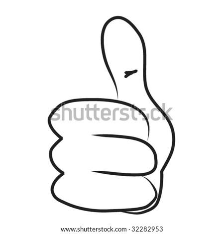 Cartoon hand - Thumb up - stock vector