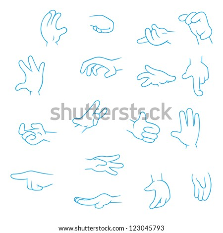 Cartoon Hands collection - set of variety vector gestures icons on white background - stock vector