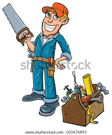 Cartoon handyman with toolbox. Isolated on white - stock vector