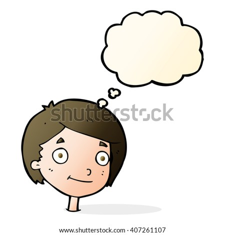 cartoon happy boy with thought bubble - stock vector