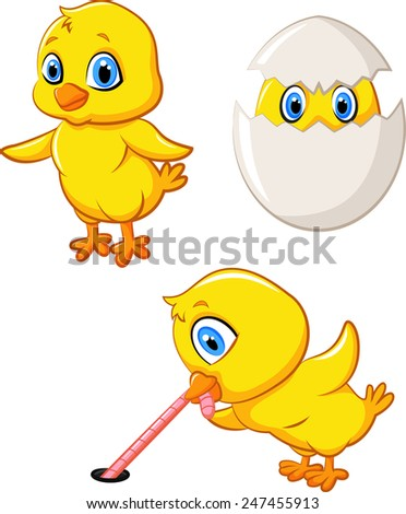 Cartoon happy chick collection set - stock vector