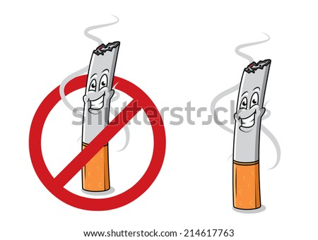 Cartoon happy cigarette butt with smoke and stop sign. For healthcare and antinicotine design - stock vector