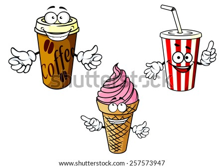 Cartoon happy coffee, soda, ice cream characters depicting drinks in cardboard cups with caps and straw, cold dessert in waffle cone for fastfood or takeaway cafe menu design  - stock vector