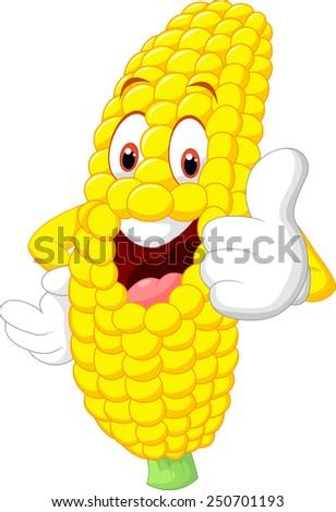 Cartoon happy corn giving thumb up - stock vector