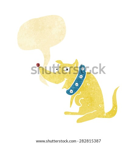 cartoon happy dog in big collar with speech bubble - stock vector