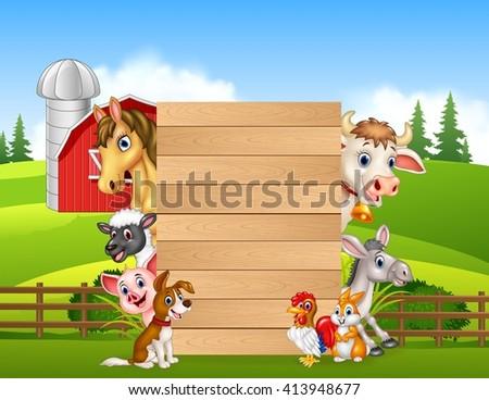 Cartoon happy farm animals holding wooden sign - stock vector