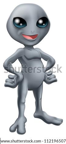 Cartoon happy friendly grey alien mascot standing with his hands on his hips - stock vector