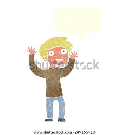 cartoon happy man with speech bubble - stock vector