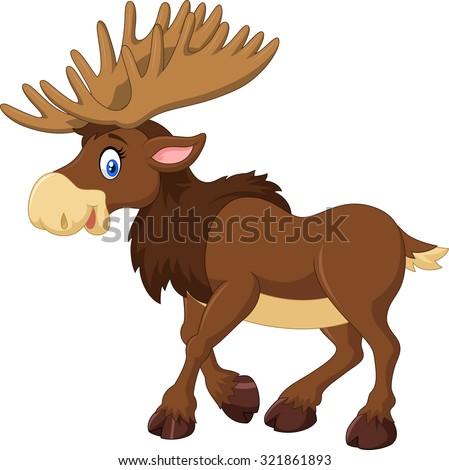 Cartoon happy moose with big horns - stock vector