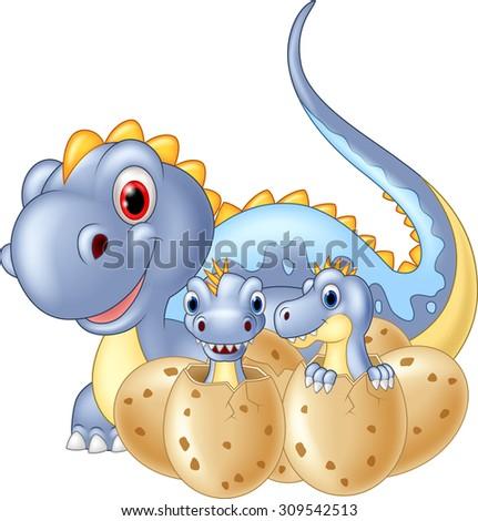 Cartoon happy Mother and baby dinosaur hatching - stock vector