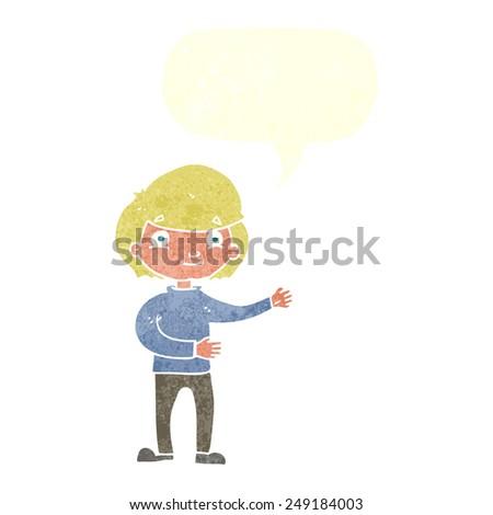 cartoon happy person with speech bubble - stock vector