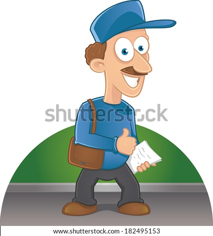 Cartoon happy postman with a mustache holding letters - stock vector