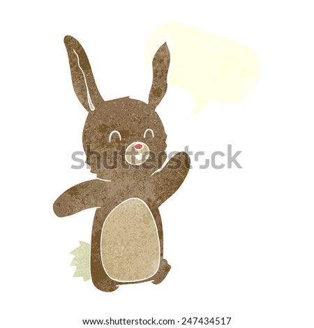 cartoon happy rabbit with speech bubble - stock vector