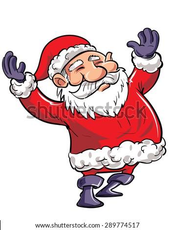Cartoon happy Santa with arms waving. Isolated - stock vector