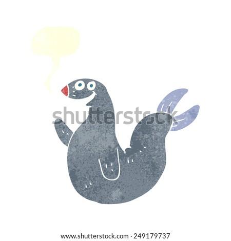 cartoon happy seal with speech bubble - stock vector
