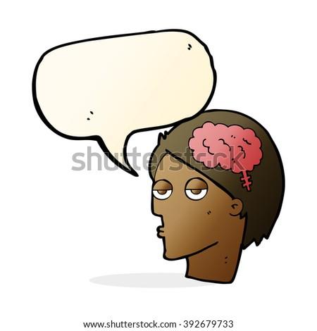 cartoon head with brain symbol with speech bubble - stock vector